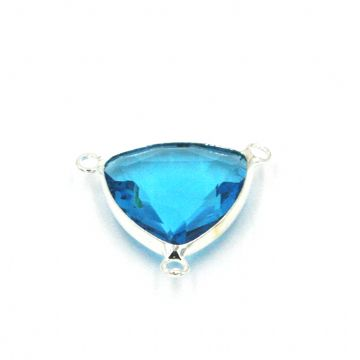 19.5*19.5mm Aqua blue colour triangle crystal connector - with 3 rings